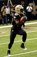 New Orleans Saints cornerback Patrick Robinson returns an interception for a touchdown.